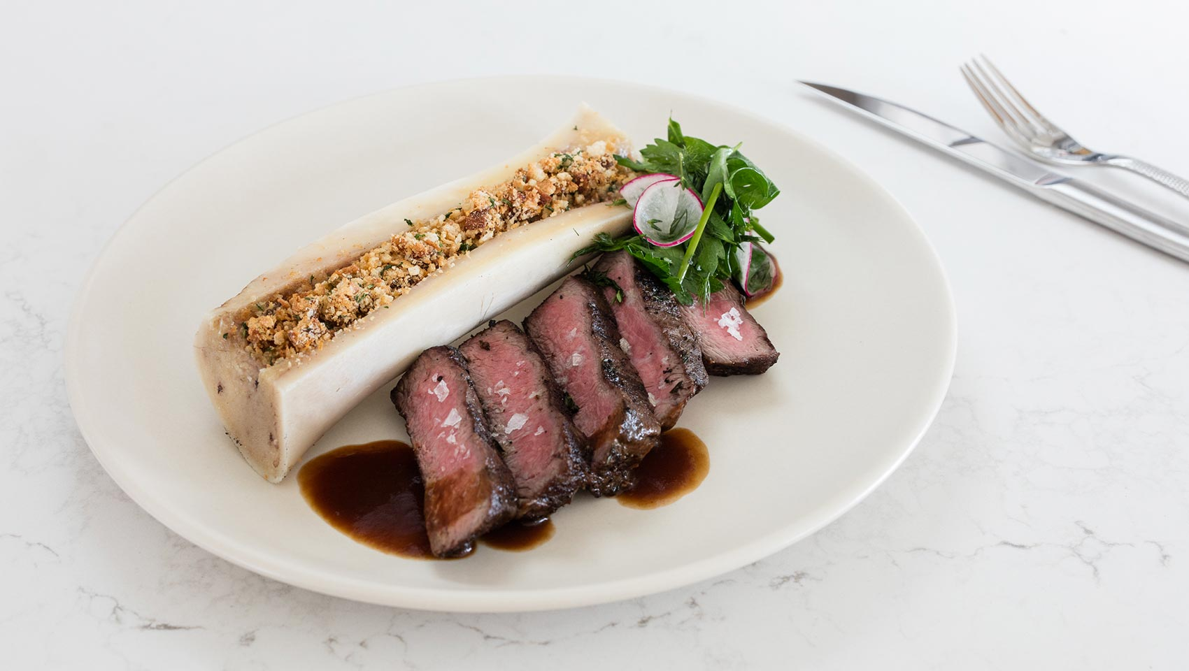 flat iron steak with grilled bone marrow